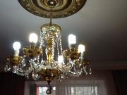 Люстра новая для гостиной из хрусталя с чашечками из богемского стекла